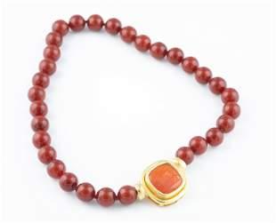 Elizabeth Locke 19k carnelian bead necklace.