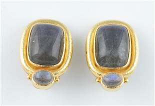Elizabeth Locke 18k labradorite earrings.