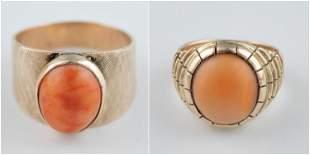 2 14k Orange opal rings