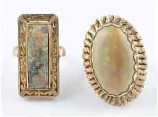 2 14k Opal cocktail rings