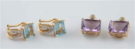 2 Pairs of semi-precious stone earrings.