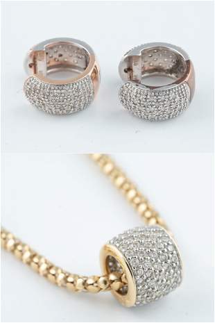 14k diamond necklace and earrings