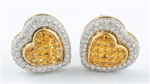 18k Yellow sapphire and diamond heart earrings