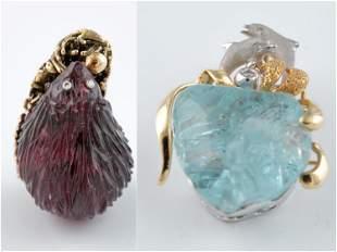 2 Gold semi-precious stone brooch and pendant.