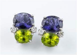 14k Amethyst, peridot, and diamond earrings.