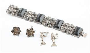 Mexican silver bracelet and earrings.