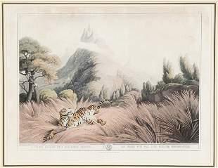 [Hunting]. 2 color aquatints by Samuel Howett aft