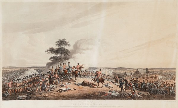 1019: [Waterloo]. 3 color aquatints with hand-coloring.