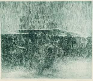 Altman, Robert. Frieze. Etching in blue ink. 12 x