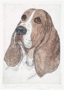1175: Lasko. 14 Hand-colored Etchings of Dogs Heads. Ea