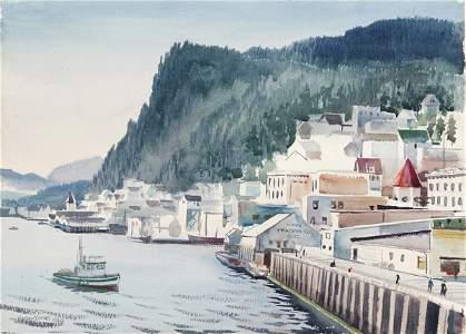 1260: Zidrnes, Milford. Seascape Port. 1946. Watercolor