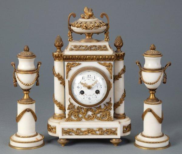 355: French White Marble Clock Garniture Set