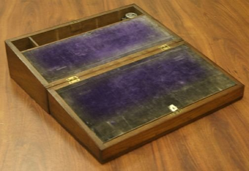 358: 19th C. Walnut Lap Desk, Metal Escutcheon
