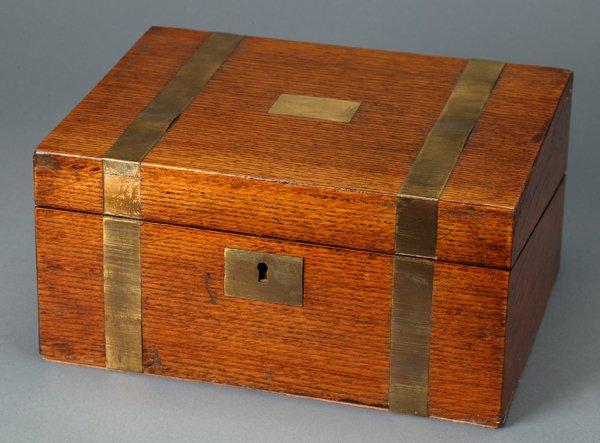 359: Oak Lap Desk with Brass Bands & Escutcheon