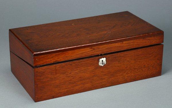 360: Burled Walnut Lap Desk with Brass Inlay