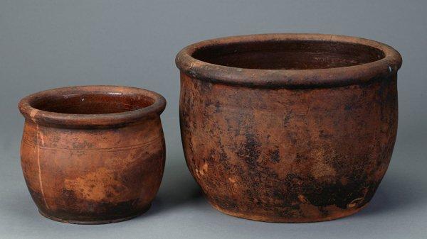 367: 2 American Redware Pots