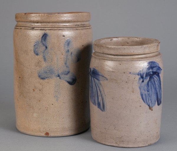 369: 2 Salt Glaze Stoneware Crocks Blue Cobalt