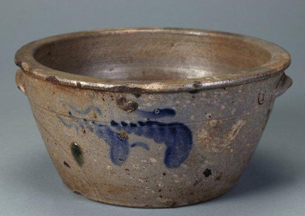 370: W.H. Lehew Saltglaze Stoneware Milk Bowl Pan