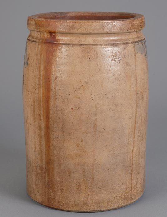 371: Saltglaze stoneware 2 gallon crock with cobalt