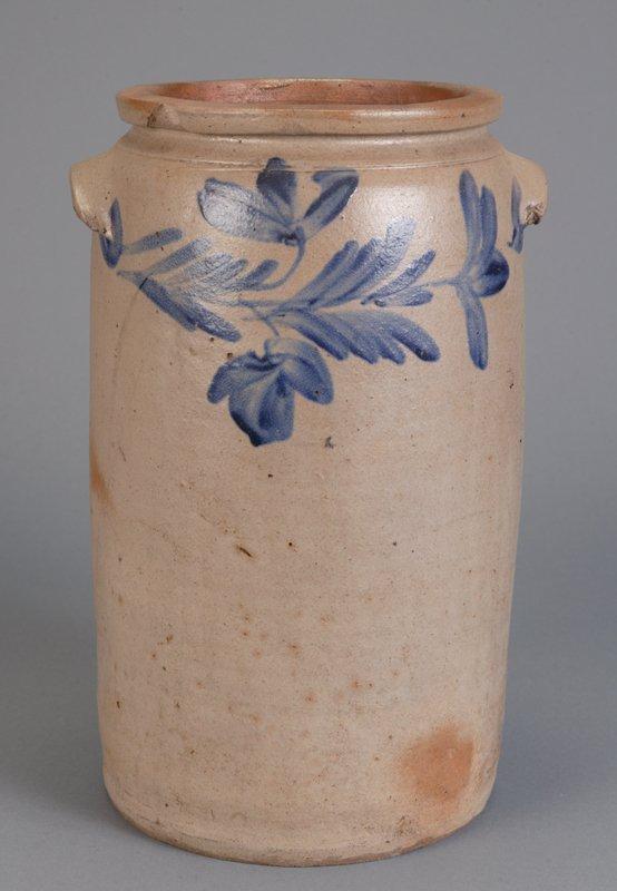 372: Saltglaze Stoneware 3 gallon Crock with blue