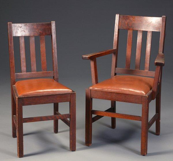 455: 6 Oak Arts & Crafts dining chairs J.K. Rishel