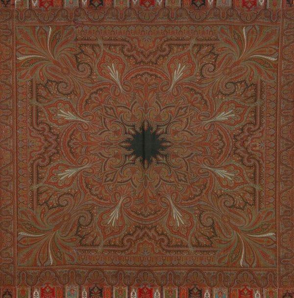 607: Arabesque Design Paisley Shawl Black Center