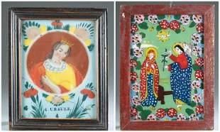 2 Romanian reverse glass paintings, 19th c.