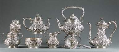 Baltimore repousse sterling silver tea service.