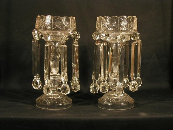005: Pair of cut glass lusters with large pri