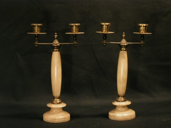010: Pair of alabaster & brass 2 light candle