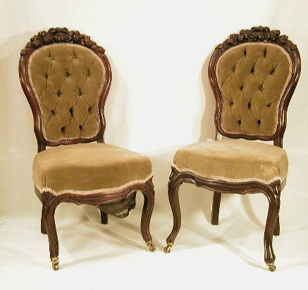 014: Pair of Rococo Revival rosewood chairs