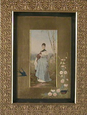 020: Mixed media Victorian painting of girl i