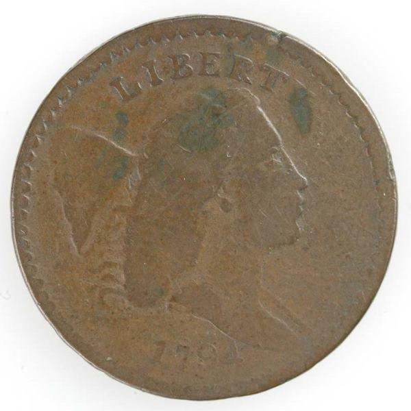 3: 1794 half cent, Cohen 4a, VG obv/rev. worn smooth
