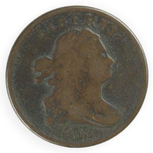 10: Two Half cents: 1803 Cohen 2, VG/VF; 1803 Cohen 3,