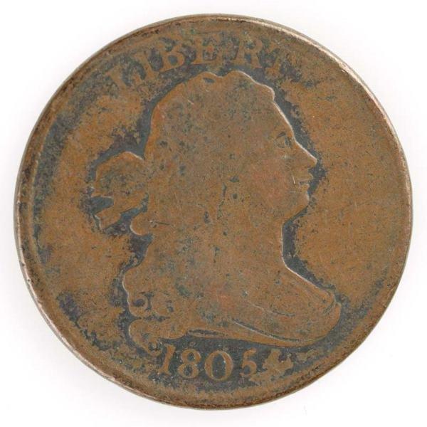 14: Two Half cents: 1805 Cohen 1, G+; 1805 Cohen 4, VF