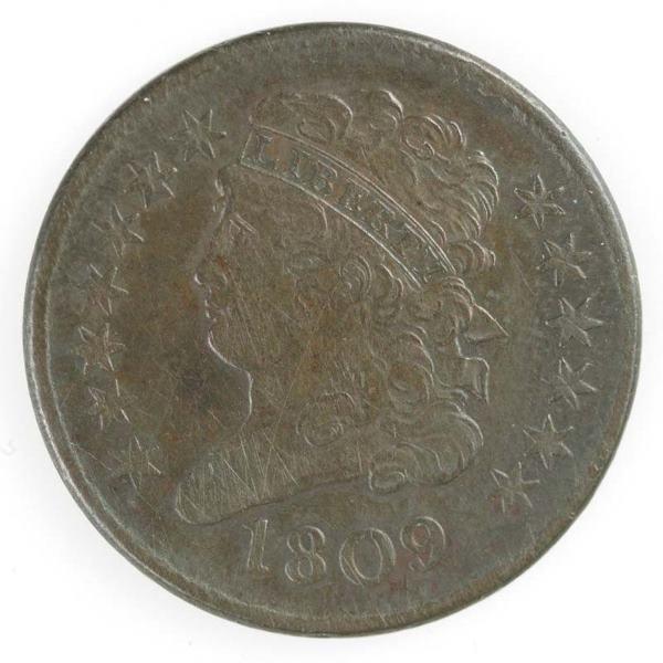 18: 1809 Half cent, Cohen 6, XF/VF.