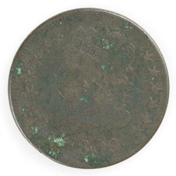 19: Two Half cents: 1809 Cohen 4; 1809, Cohen 5.