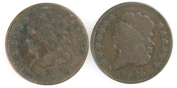 22: Two Half cents: 1825 Cohen 1, VF/XF; 1825 Cohen 2