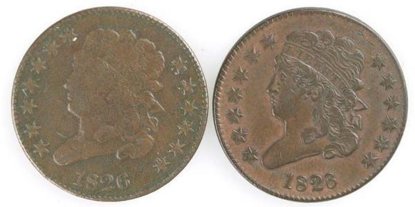 23: Two Half cents: 1826 Cohen 1, XF; 1826 Cohen 2, F