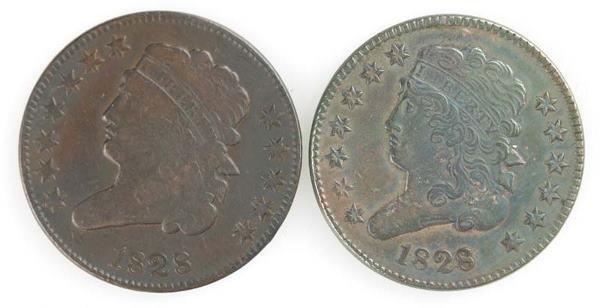 24: Two Half cents:1828 Cohen 1; 1828 Cohen 2, 12 stars