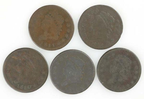 39: Five Large Cents: 1809; 1810; 1810/9; 1811; 1812