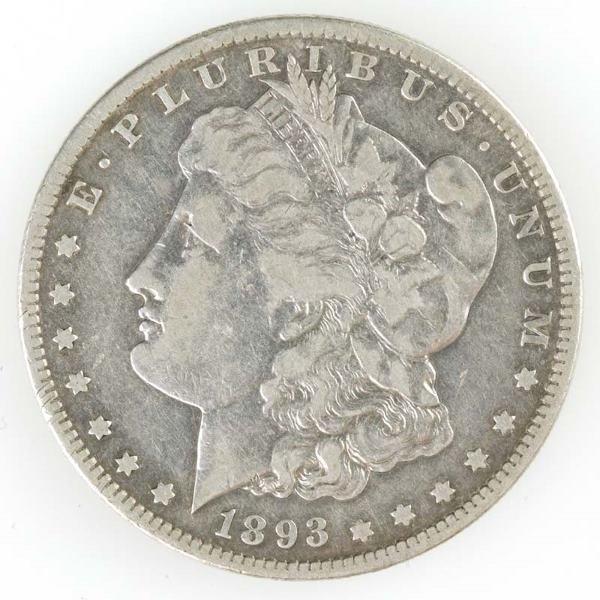 107: Morgan Dollar, 1893 S, F-VF.