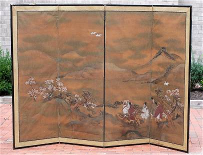 Antique Japanese 4-panel wall hanging screen.