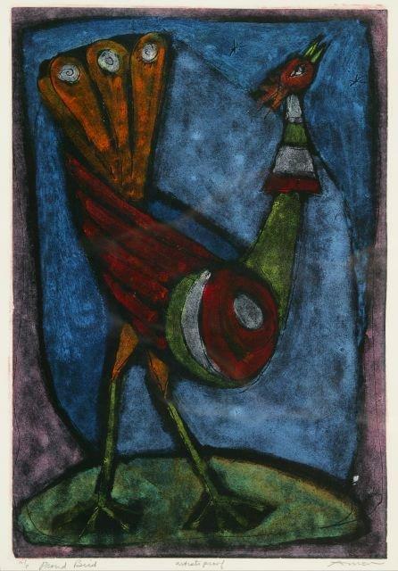1002: Amen, Irving (Am. b.1918). Proud Bird.Color litho