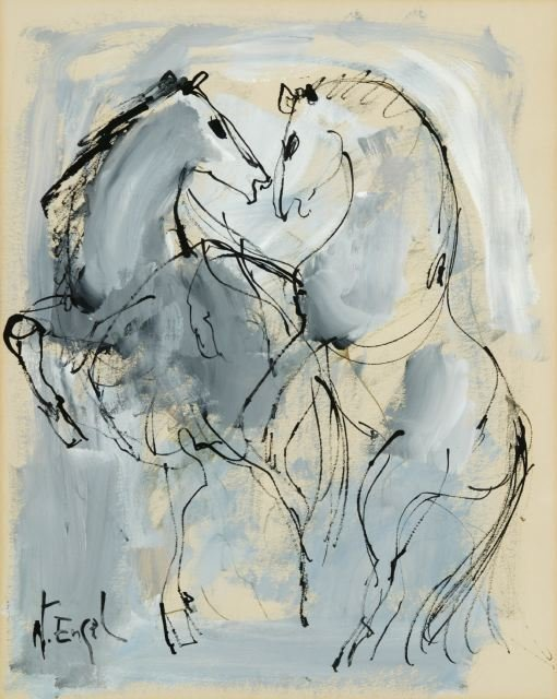 1007: Engel, N(?) (20th c.). Untitled ink and gouche