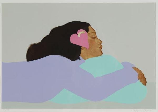 1015: Hopper, Peggi. Serigraph. Reclined Hawaiian woman