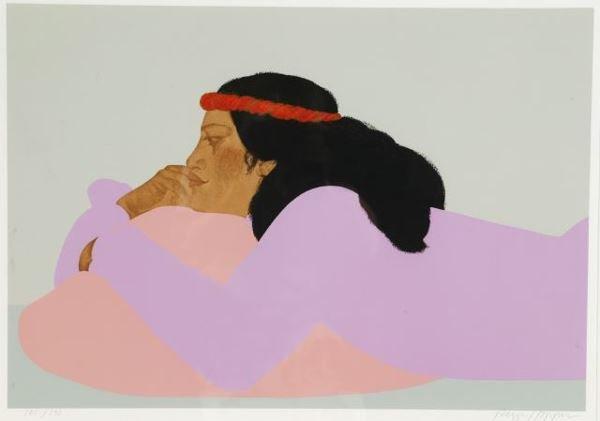 1016: Hopper, Peggi. Serigraph. Reclined Hawaiian woman