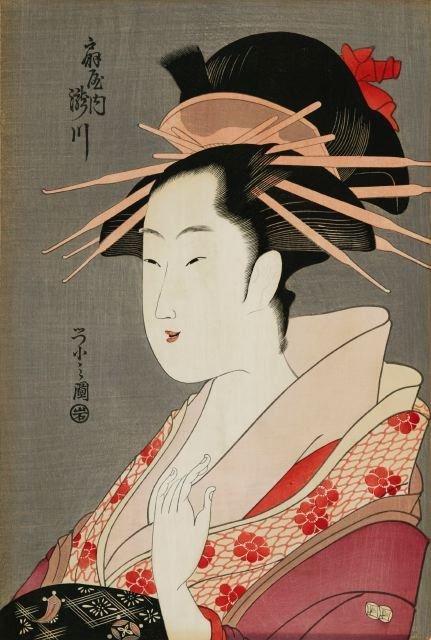 1018: Eishi, Chobunsai (1756-1829). Color Woodblock