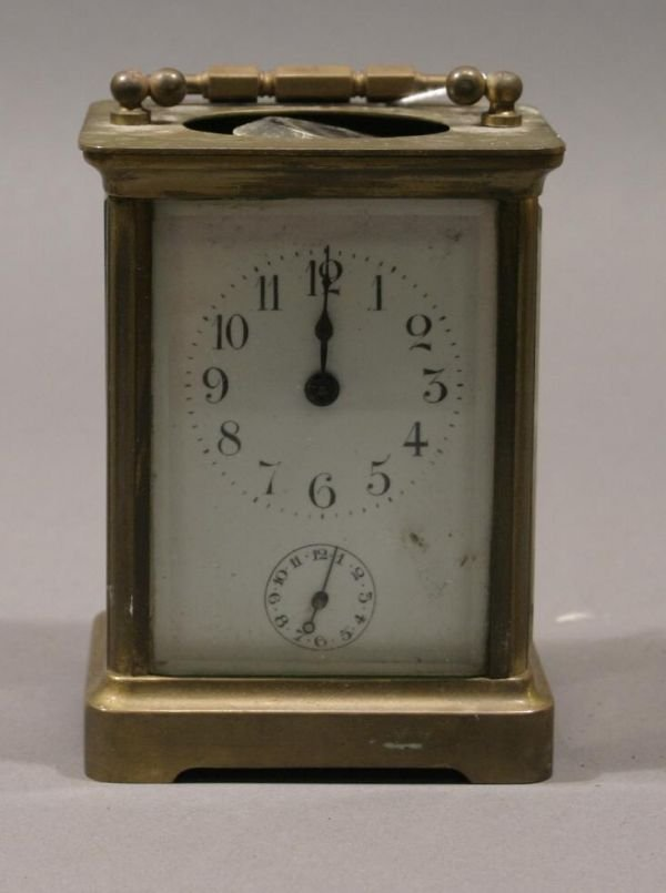 4: French brass cased carriage clock,  travel case
