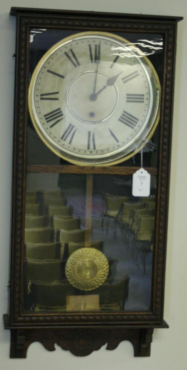 7: Sessions Regulator 8-day wall clock, in oak case